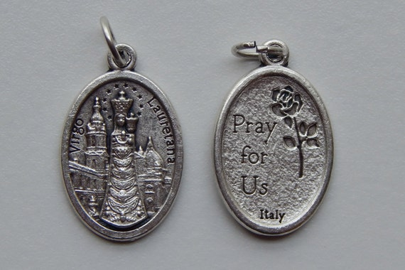 Patron Saint Medal Finding - Our Lady of Loreto, Die Cast Silverplate, Silver Color, Oxidized Metal, Made in Italy, Charm, Drop