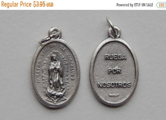 FINAL CLEARANCE 5 Patron Saint Medal Findings - Nuestra Senora de Guadalupe, Die Cast Silverplate, Silver Color, Oxidized Metal, Italy Made,