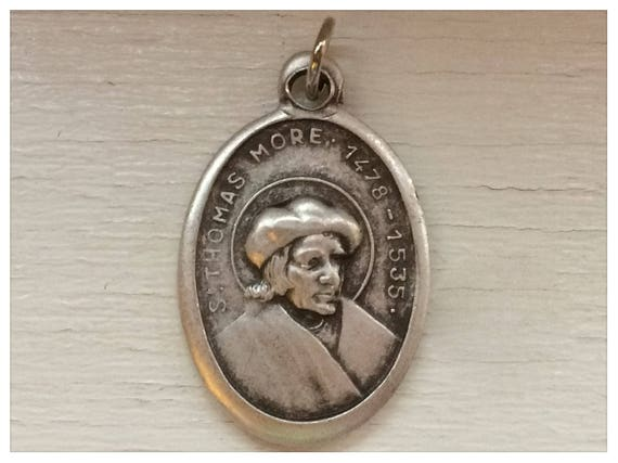 Patron Saint Medal Finding - St. Thomas More, Die Cast Silverplate, Silver Color, Oxidized Metal, Made in Italy, Charm, Religious, Drop