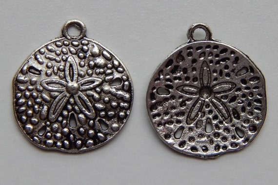 10 Pieces of Metal Jewelry Charms - 19mm Sand Dollar, Seashell, Beach, Sea Life, Drop, Single Sided, Silver Color, Base Metal, Top Loop