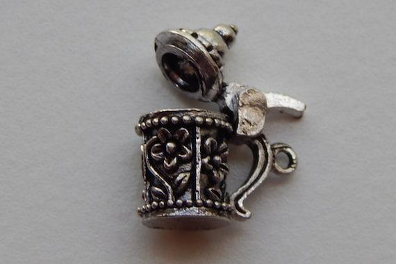 1 Piece of Metal Jewelry Charm - 19mm Beer Stein, Mug, Floral Pattern, Drop, Single Sided, Silver Color, Huge Size, Base Metal, Top Loop