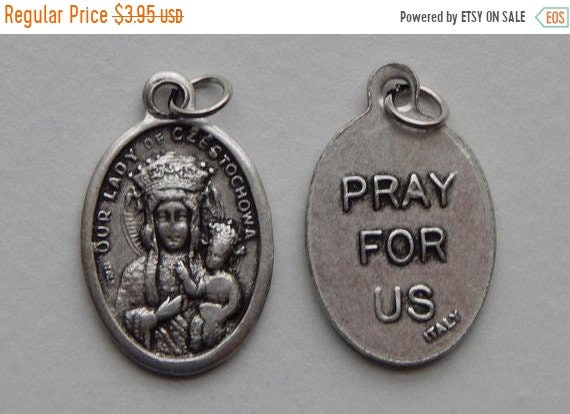 FINAL CLEARANCE 5 Patron Saint Medal Findings - Our Lady of Czestochowa, Die Cast Silverplate, Silver Color, Oxidized Metal, Made in Italy,