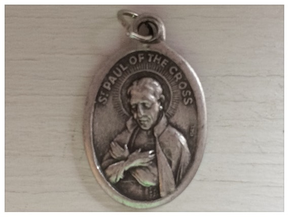 Patron Saint Medal Finding - St. Paul of the Cross, Die Cast Silverplate, Silver Color, Oxidized Metal, Made in Italy, Charm