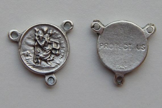 Rosary Center Piece Finding - Saint Christopher, Protect Us, Silver Color Oxidized Metal, Center, Religious, Hardware