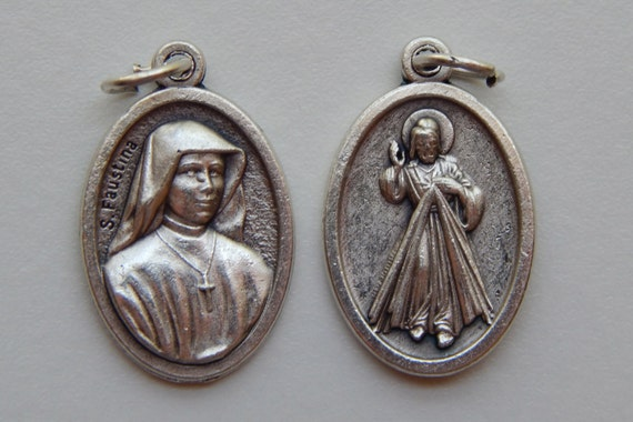 Patron Saint Medal Finding - St. Faustina, Divine Mercy, Die Cast Silverplate, Silver Color, Oxidized Metal, Made in Italy, Charm, Religious