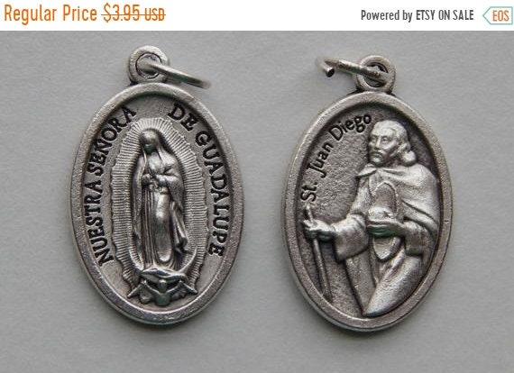 FINAL CLEARANCE 5 Patron Saint Medal Findings - St. Juan Diego, Double, Die Cast Silverplate, Silver Color, Oxidized Metal, Made in Italy, C