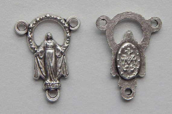Rosary Center Piece Finding - 20mm Long, Mary Immaculate, Small Corona, Silver Color Oxidized Metal, Rosary Center, Religious Bead