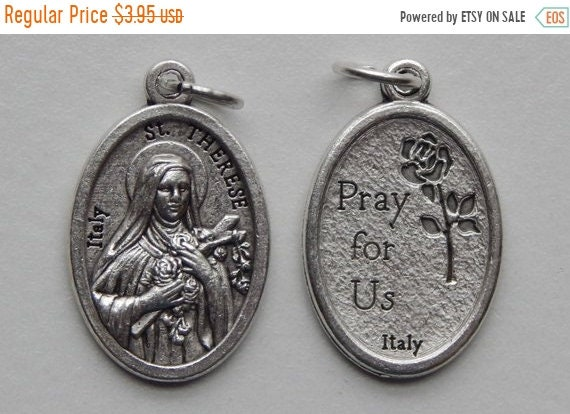 FINAL CLEARANCE 5 Patron Saint Medal Findings - St. Therese, Die Cast Silverplate, Silver Color, Oxidized Metal, Made in Italy, Charm, Drop