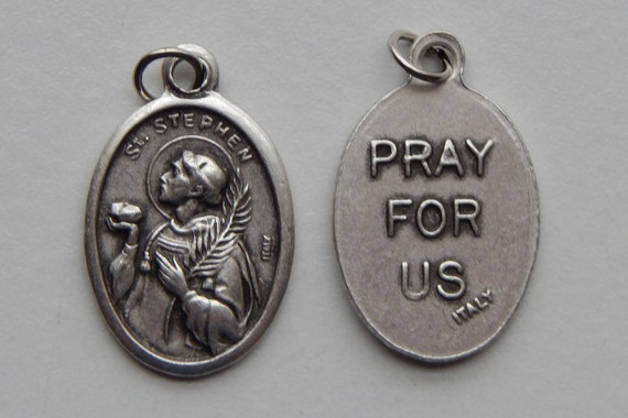 Patron Saint Medal Finding - St. Stephen, Die Cast Silverplate, Silver Color, Oxidized Metal, Made in Italy, Charm, Drop, Religious, Finding