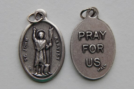 Patron Saint Medal Finding - St. John the Baptist, Die Cast Silverplate, Silver Color, Oxidized Metal, Made in Italy, Charm, Drop, Religious