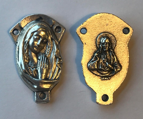 Rosary Center Finding - Sorrowful Mother, Large, Die Cast Silverplate, Silver Color, Oxidized Metal, Made in Italy, Charm, Religious