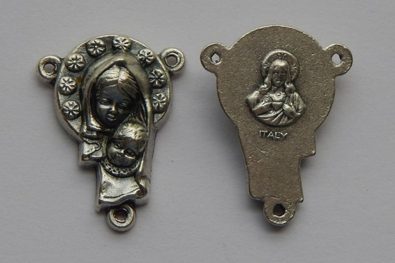 Rosary Center Piece Finding - 21mm Long, Mary and Child, Flower, Sacred Heart, Silver Color Oxidized Metal, Rosary Center