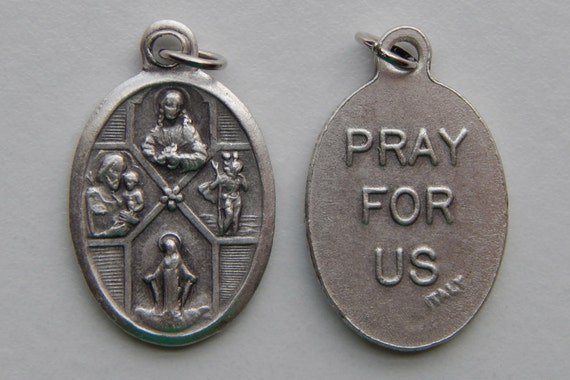 Patron Saint Medal Finding - 4 Way Cross, Die Cast Silverplate, Silver Color, Oxidized Metal, Made in Italy, Charm, Drop