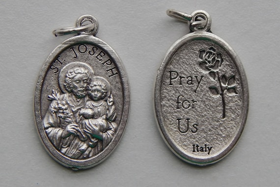 Patron Saint Medal Finding - St. Joseph, Father, Die Cast Silverplate, Silver Color, Oxidized Metal, Made in Italy, Charm, Finding, Drop