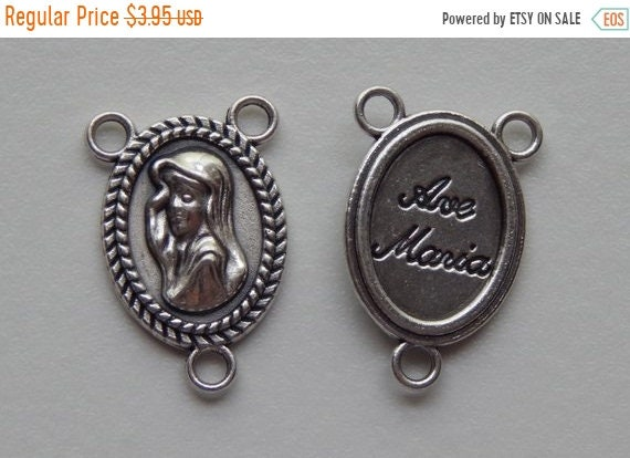 FINAL CLEARANCE 5 Rosary Center Piece Findings, Ave Maria, Hail Mary, Silver Color Oxidized Metal, Rosary Center, Religious, Hardware, Made