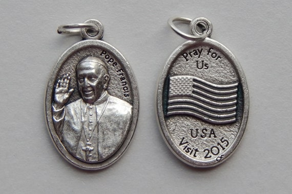 Patron Saint Medal Finding - Pope Francis, USA Visit 2015, Die Cast Silverplate, Silver Color, Oxidized Metal, Made in Italy, Charm