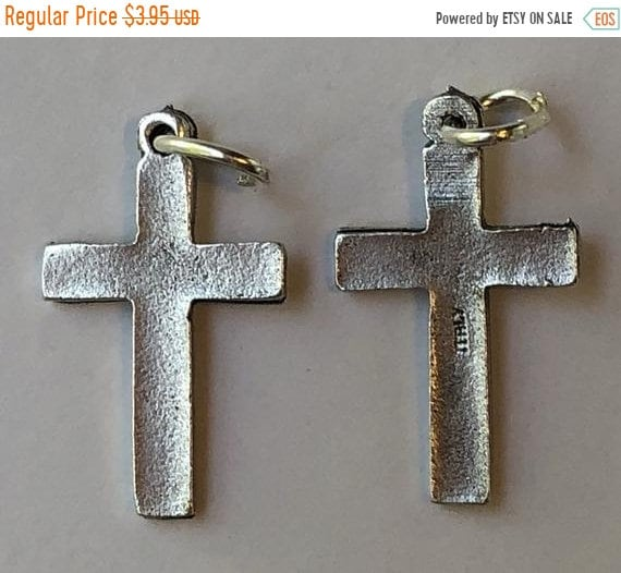 FINAL CLEARANCE 5 Religious Medal Findings - Cross, Small Plain Style, Die Cast Silverplate, Silver Color, Oxidized Metal, Made in Italy, Ch