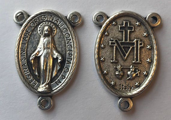 Rosary Center Finding - Mary Immaculate, Die Cast Silverplate, Silver Color, Oxidized Metal, Made in Italy, Charm, Religious