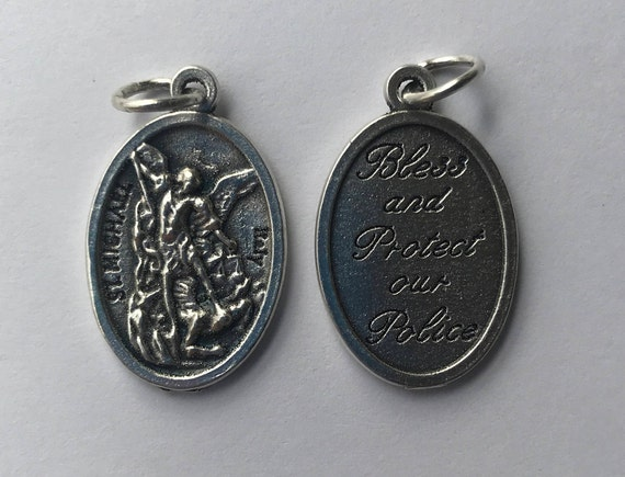 Patron Saint Medal Finding - St. Michael, Police, Die Cast Silverplate, Silver Color, Oxidized Metal, Made in Italy, Charm