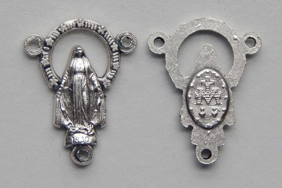Rosary Center Piece Finding - 23mm Long, Miraculous, Mary Immaculate, Silver Color Oxidized Metal, Rosary Center, Religious Beads