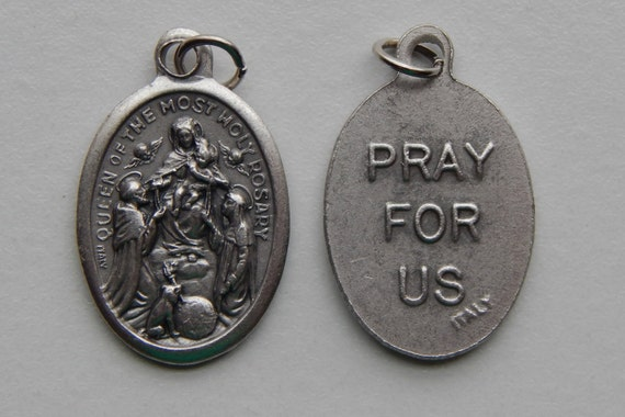 Patron Saint Medal Finding - Queen of the Most Holy Rosary, Die Cast Silverplate, Silver Color, Oxidized Metal, Made in Italy, Religious