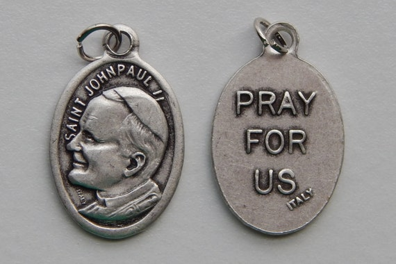 Patron Saint Medal Finding - St. John Paul II, Die Cast Silverplate, Silver Color, Oxidized Metal, Made in Italy, Charm, Drop, Religious