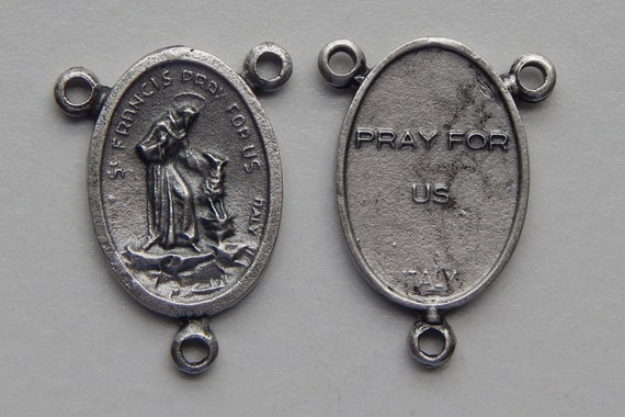Rosary Center Piece Finding - 25mm Long, St. Francis, Pray, Silver Color Oxidized Metal, Rosary Center, Saint, Religious Beads