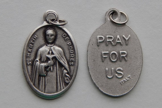 5 Patron Saint Medal Findings - St. Martin de Porres, Die Cast Silverplate, Silver Color, Oxidized Metal, Made in Italy, Charm