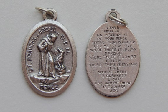 Patron Saint Medal Finding - St. Francis of Assisi, Prayer, Die Cast Silverplate, Silver, Oxidized Metal, Made in Italy, Charm, Drop
