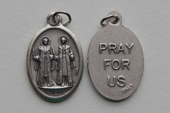 Patron Saint Medal Finding - Cosmas and Damian, Die Cast Silverplate, Silver Color, Oxidized Metal, Made in Italy, Charm, Drop, Religious