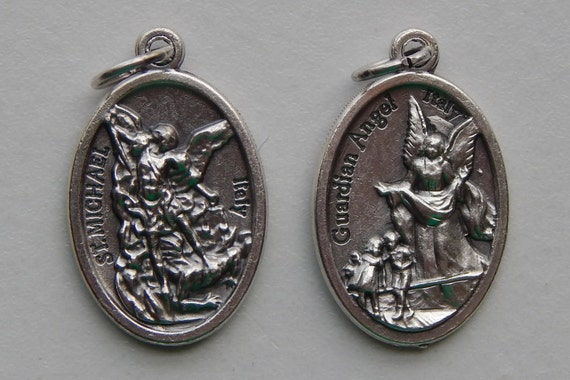 Patron Saint Medal Finding - St. Michael, Guardian Angel, Die Cast Silverplate, Silver Color, Oxidized Metal, Italy Made, Charm, Religious