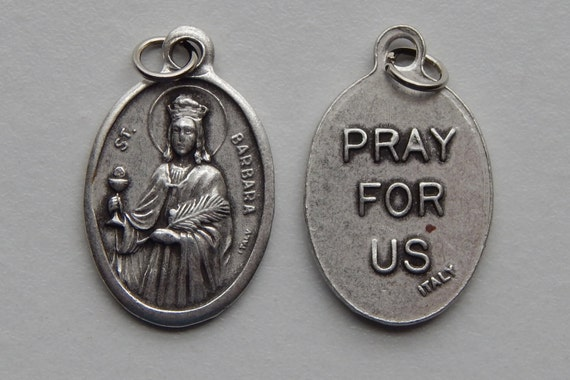 Patron Saint Medal Finding - St. Barbara, Die Cast Silverplate, Silver Color, Oxidized Metal, Made in Italy, Charm, Drop, Religiou, Holy