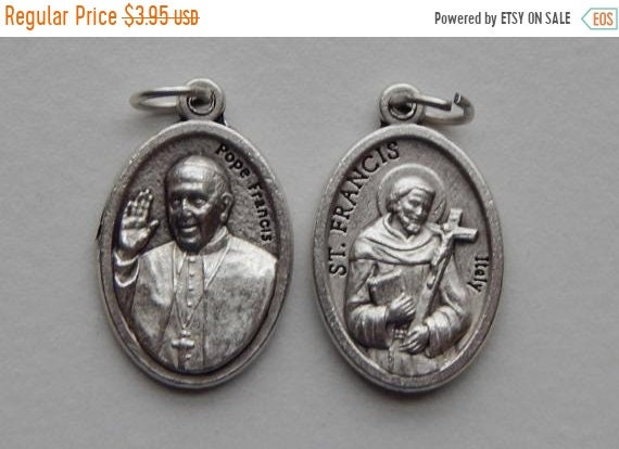 FINAL CLEARANCE 5 Patron Saint Medal Findings - St. Francis, Pope, Die Cast Silverplate, Silver Color, Oxidized Metal, Made in Italy, Charm,