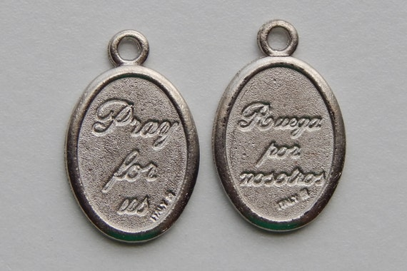 Patron Saint Medal Finding - Double Sided, Pray & Ruega, Die Cast Silverplate, Silver Color, Oxidized Metal, Made in Italy, Charm
