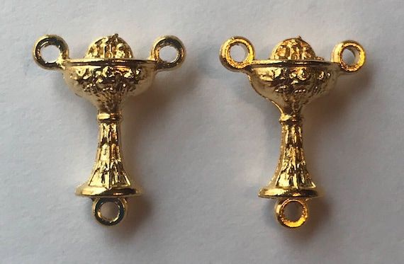 Rosary Center Finding - Communion Chalice, Die Cast Goldplate, Gold Color, Oxidized Metal, Made in Italy, Charm, Religious