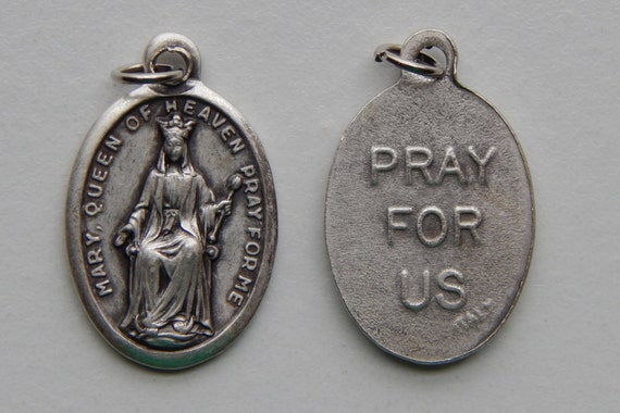 Patron Saint Medal Finding -Mary Queen of Heaven, Die Cast Silverplate, Silver Color, Oxidized Metal, Made in Italy, Charm, Drop, Religious