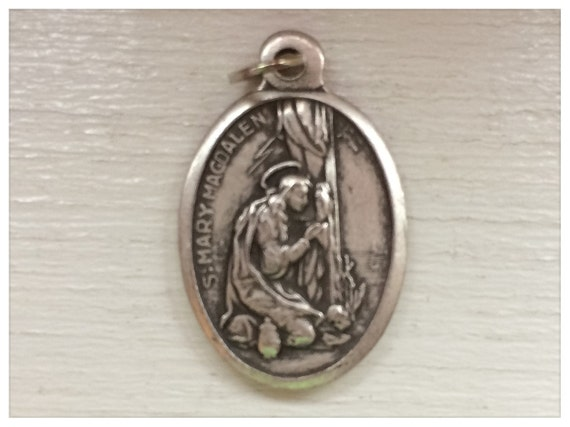Patron Saint Medal Finding - St. Mary Magdalen, Magdalene, Die Cast Silverplate, Silver Color, Oxidized Metal, Made in Italy, Charm
