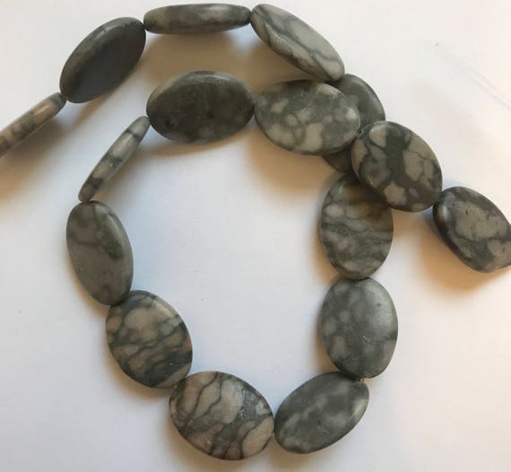 """1 Strand of Marble Beads, 15"""", about 16 Pieces, Canyon, Black and Gray, Treated Gemstone, Large Size, 24mm, Oval Shape, G4"""