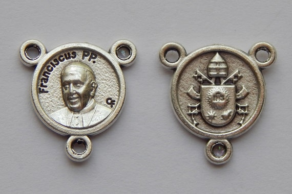 Rosary Center Piece Finding - 17mm Long, Small Size, Franciscus PP, Pope Francis, Silver Color Oxidized Metal, Rosary Center