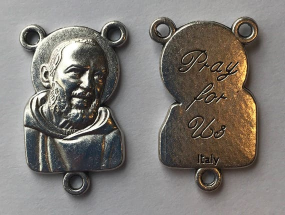 Rosary Center Finding - Padre Pio, Pray, Die Cast Silverplate, Silver Color, Oxidized Metal, Made in Italy, Charm, Religious