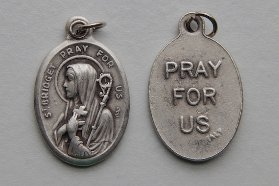 Patron Saint Medal Finding - St. Bridget, Die Cast Silverplate, Silver Color, Oxidized Metal, Made in Italy, Charm, Drop, Religious, Holy