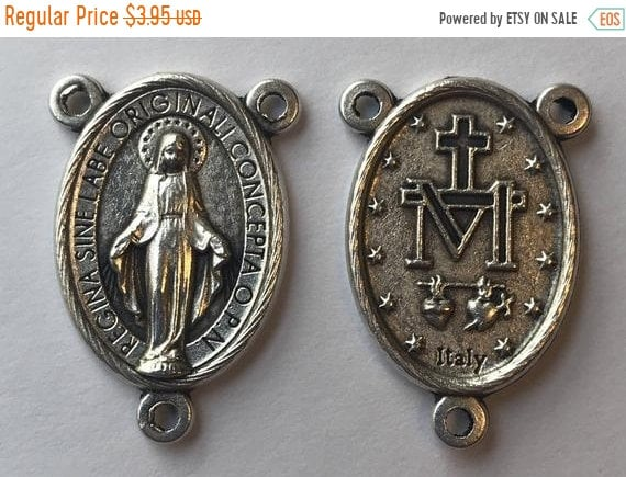 FINAL CLEARANCE 5 Rosary Center Findings, Mary Immaculate, Die Cast Silverplate, Silver Color, Oxidized Metal, Made in Italy, Charm, Religio