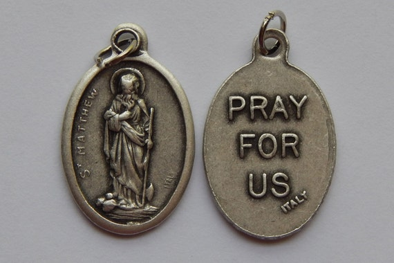 Patron Saint Medal Finding - St. Matthew, Pray For Us, Die Cast Silverplate, Silver Color, Oxidized Metal, Made in Italy, Charm
