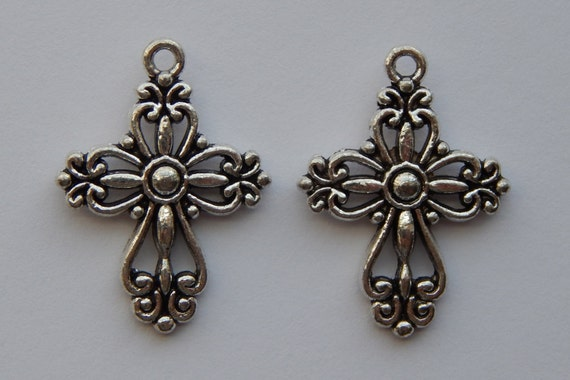 Jewelry Bead Charms - 28mm Antique Silver Color Religious Cross, Beautiful Victorian Style, Pendants, Christian Findings