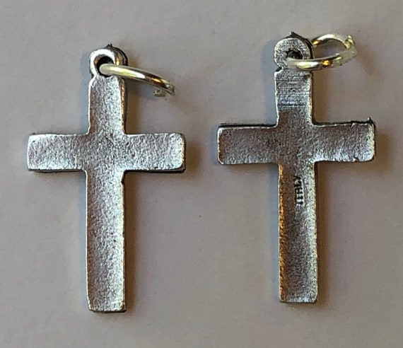 5 Religious Medal Findings - Cross, Small Plain Style, Die Cast Silverplate, Silver Color, Oxidized Metal, Made in Italy, Charm, Religious