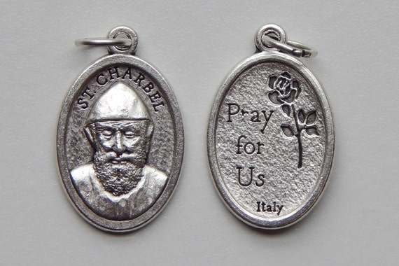 Patron Saint Medal Finding - St. Charbel, Pray, Die Cast Silverplate, Silver Color, Oxidized Metal, Made in Italy, Charm, Drop, Religious