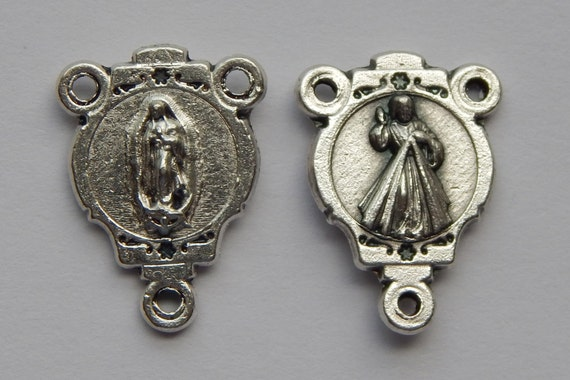Rosary Center Piece Finding - 19mm Long, Mary, Jesus, Silver Color Oxidized Metal, Rosary Center, Religious, Hardware