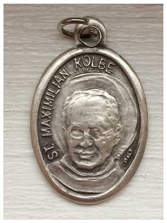 5 Patron Saint Medal Findings, Maximilian Kolbe, Die Cast Silverplate, Silver Color, Oxidized Metal, Made in Italy, Charm, Religious
