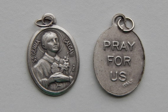 Patron Saint Medal Finding - St. Gemma Galgani, Die Cast Silverplate, Silver Color, Oxidized Metal, Made in Italy, Charm, Drop, Finding