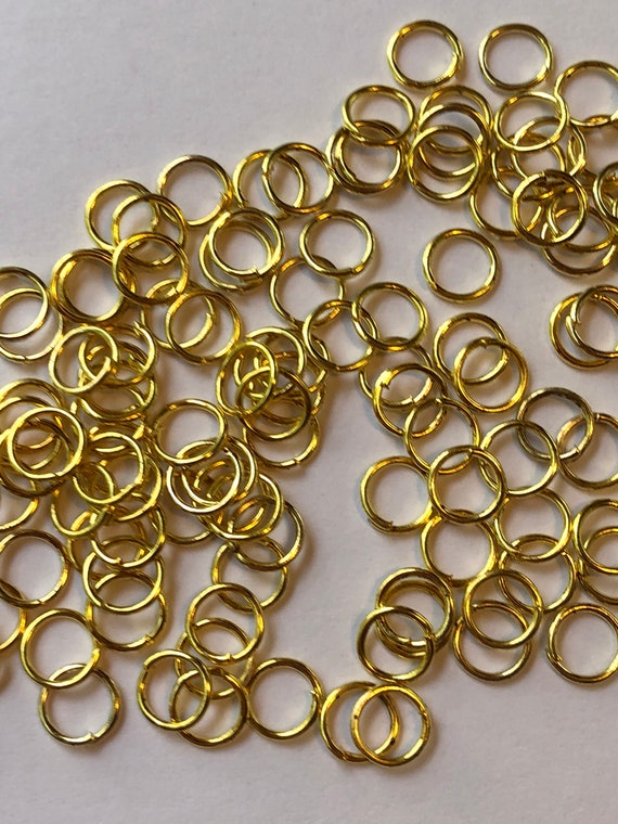 18 Grams of Metal Jewelry Findings - Jumprings, 6.4mm OD, 5mm ID, 22 Gauge, Open Rings, Gold Color, Beading, Medium Size, Base Metal